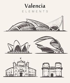 Набор рисованной валенсии зданий. валенсия элементы эскиза иллюстрации. город искусств и наук, ворота серраноса, пласа-де-торос.