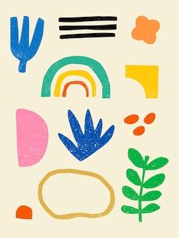 手描きのさまざまなカラフルな形と落書きオブジェクトのセットは、現代的な現代のトレンディを抽象化します
