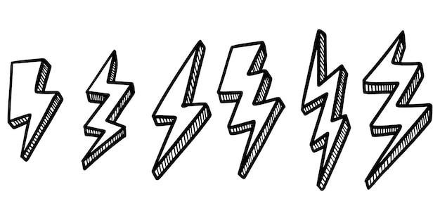 手描きベクトル落書き電気稲妻シンボルスケッチイラストのセットです。ベクトルイラスト。