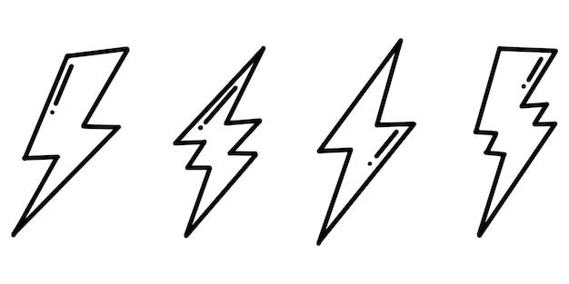 Набор рисованной вектор каракули электрические молнии символ эскиз иллюстрации. векторные иллюстрации