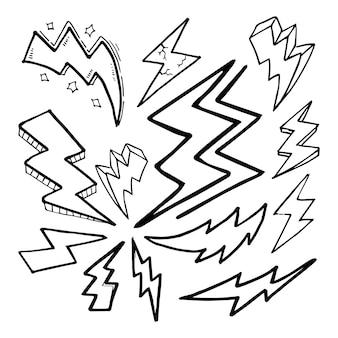 手描きベクトル落書き電気稲妻シンボルスケッチillustrations.vectorイラストのセット