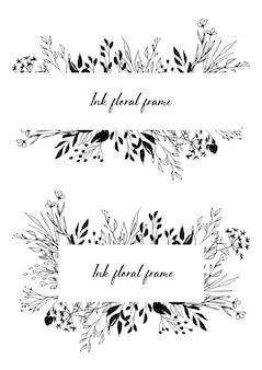 손으로 그린 벡터 잉크 꽃 테두리 및 프레임 세트
