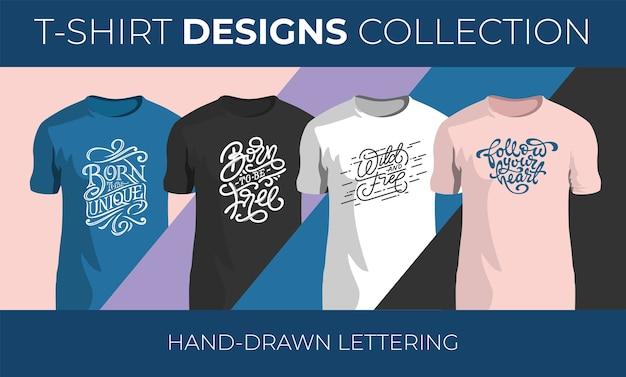 Tシャツデザインの手描きベクトルレタリングのセット