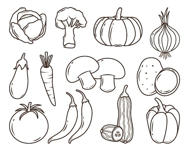 Набор рисованной овощной мультфильм каракули раскраски