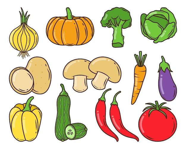 손으로 그린 야채 만화 낙서 스타일의 집합