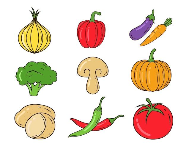 Набор рисованной овощной мультяшный каракули стиль