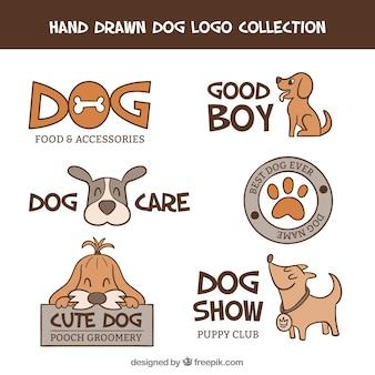 手で描かれた獣医のロゴのセット