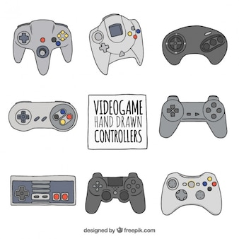 Set of hand drawn video game controllers