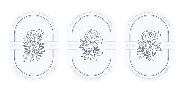 여성 로고 및 뷰티 브랜드에 대한 손으로 그린 빈티지 블루 식물 장미 꽃과 잎 지점 요소 집합