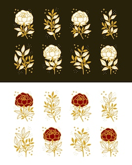 Набор рисованной старинный ботанический пион, цветок розы и элементы искусства ветки цветочных листьев