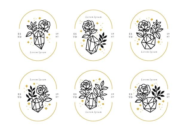 手描きのヴィンテージ植物のバラの花の葉の枝の結晶と宝石のロゴ要素のセット