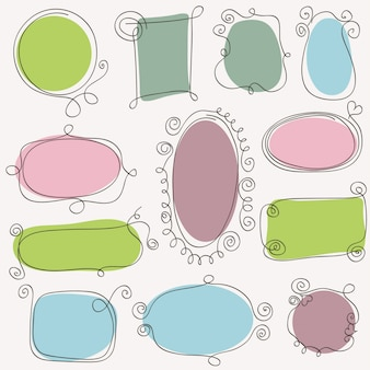 手描きのビンテージフレームのセットです。設計要素