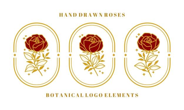 여성 브랜드 또는 뷰티 로고에 대한 손으로 그린 빈티지 골드 식물 장미 꽃 요소 집합