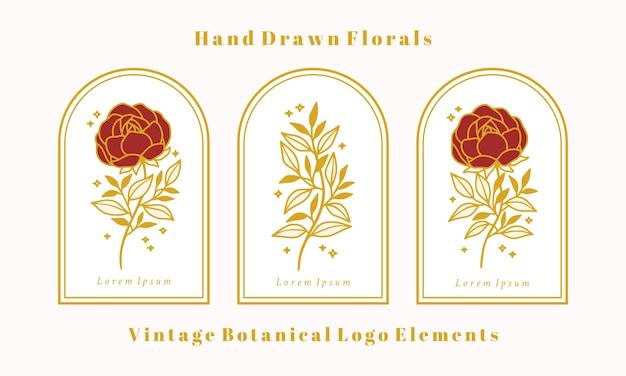 여성 로고 또는 뷰티 브랜드에 대한 손으로 그린 빈티지 골드 식물 장미 꽃 요소 집합