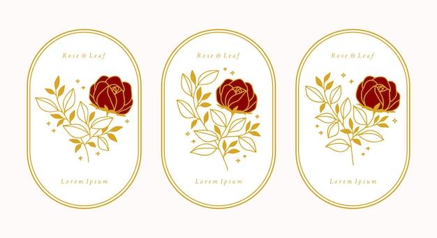 손으로 그린 빈티지 골드 식물 장미 꽃 세트