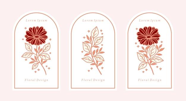 手描きのヴィンテージピンクの植物のデイジーとガーベラの花の要素のセット