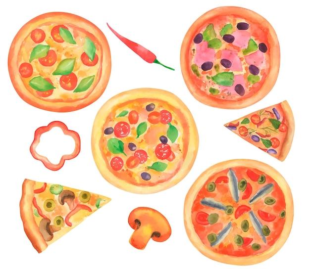 Набор рисованной акварель различных видов пиццы.