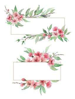 手描きの桜の花と葉の水彩花のボーダーのセット