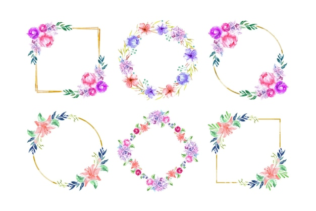 손으로 그린 수채화 꽃 프레임 세트