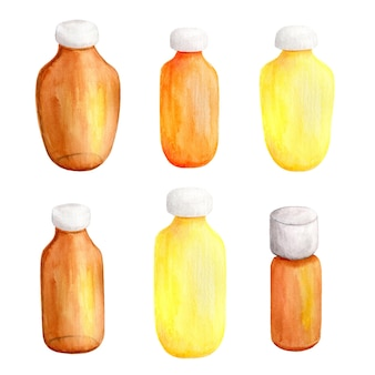 Набор рисованной акварельных стеклянных бутылок, фляг