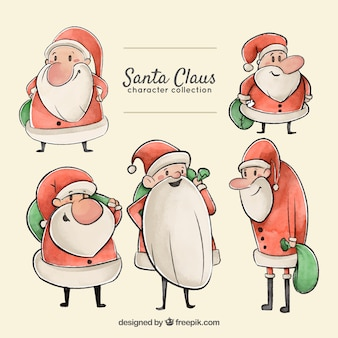 Set of hand drawn watercolor santa claus characters
