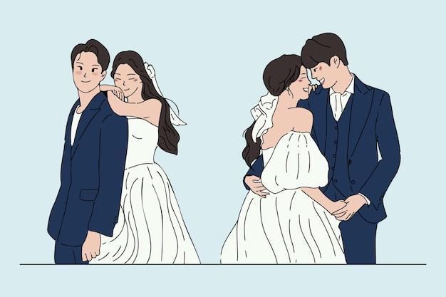 Набор рисованной свадебной пары, свадьбы, брака, иллюстрации концепции свадьбы