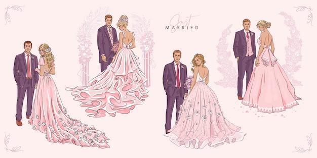 手描きの結婚式のカップルのセット
