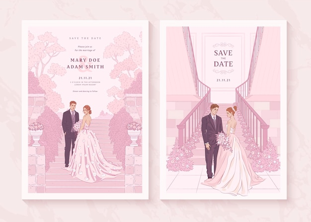 Набор рисованной свадебного приглашения с новобрачной