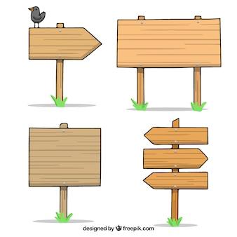 손으로 그린 나무 표시의 집합