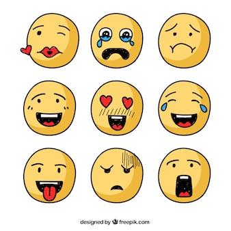 Set of hand drawn yellow emoticons