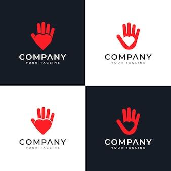 모든 사용을 위한 손 사랑 로고 창의적인 디자인 세트