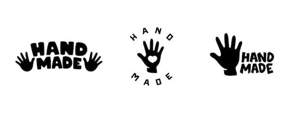 손으로 만든 로고, 라벨 및 배지 세트.
