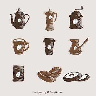 손으로 그린 커피 액세서리 세트