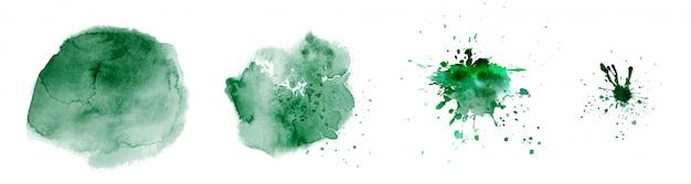 Набор раскрашенных вручную акварельных кругов красочных разных форм