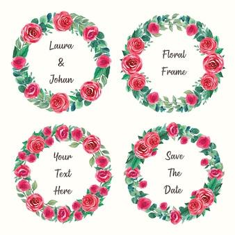 手描き水彩円形花フレームのセット