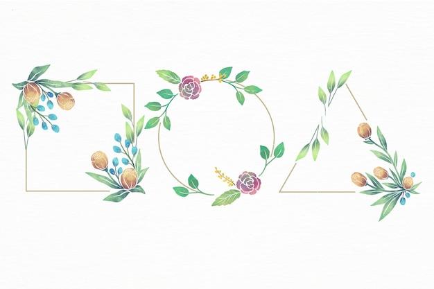 손으로 그린 수채화 꽃 프레임 세트 무료 벡터