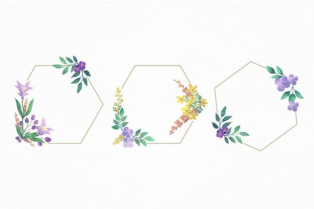 手描きの水彩花フレームのセット