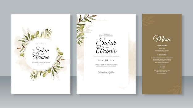 手描きの水彩画の結婚式の招待カードのテンプレートのセット