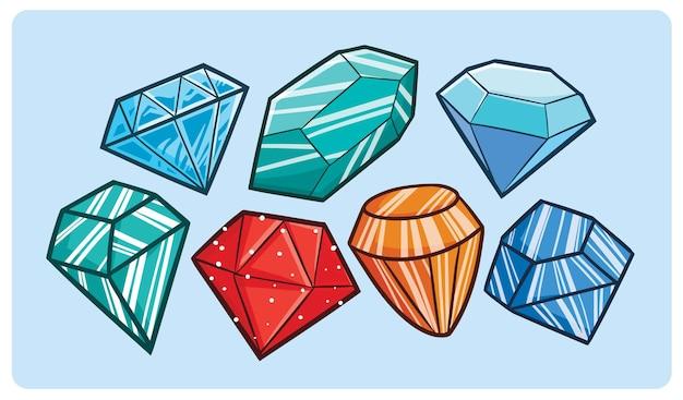 만화 스타일의 handdrawn 다채로운 다이아몬드 세트