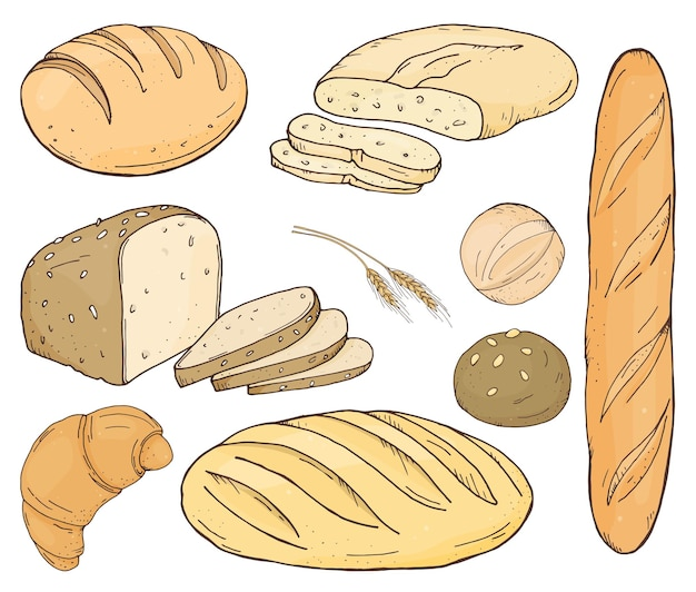 手描きのさまざまな種類のパンと自家製ペストリーのセット