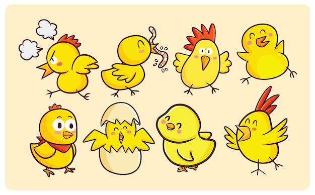 손으로 그린 작은 노란 닭 세트