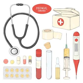手描きの医療機器と医薬品のセット
