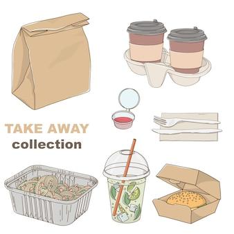 手描きの持ち帰り用の食べ物や飲み物のセット