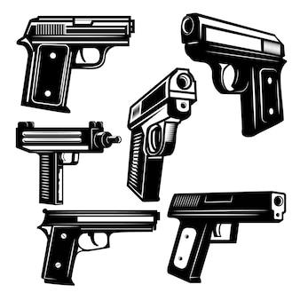 白い背景の上の拳銃のセットです。ロゴ、ラベル、エンブレム、記号の要素。図。