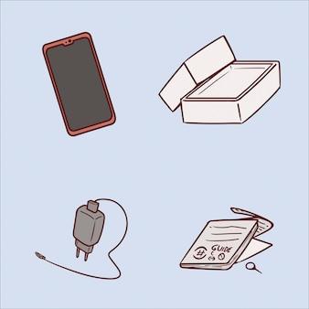 携帯電話手描きイラストのセット