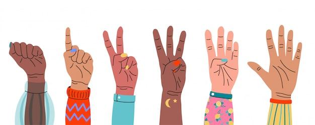 손가락을 표시 하여 세 손의 집합입니다. 손으로 그린 컬러 유행 그림. 만화 스타일 플랫 컬러 손 제스처 기호. 모든 요소는 격리