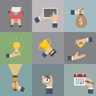Set of hands holding different business object