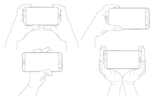 Набор рук, держащих горизонтальные современные черные смартфоны, изолированные на белом фоне