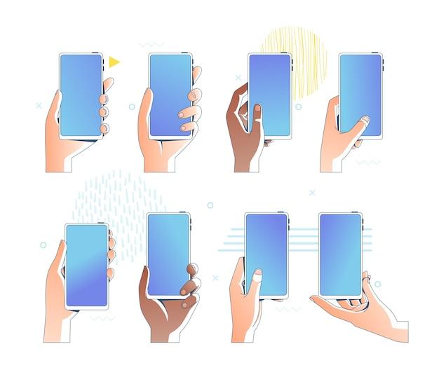 Набор рук, держащих мобильные телефоны. различные позы рук с мобильными устройствами