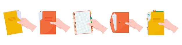 흰색 작업 공간에 격리된 문서 편지지 개념 그림이 있는 폴더를 손에 들고 있습니다.
